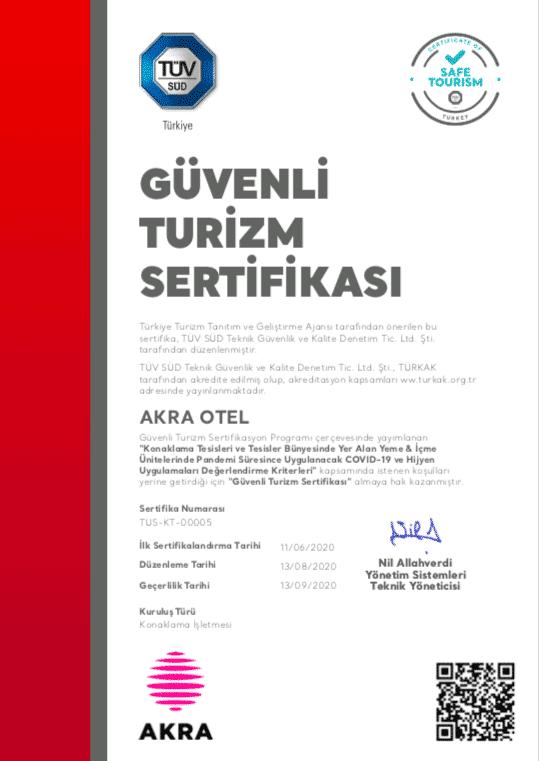 güvenli turizm sertifikası ağustos