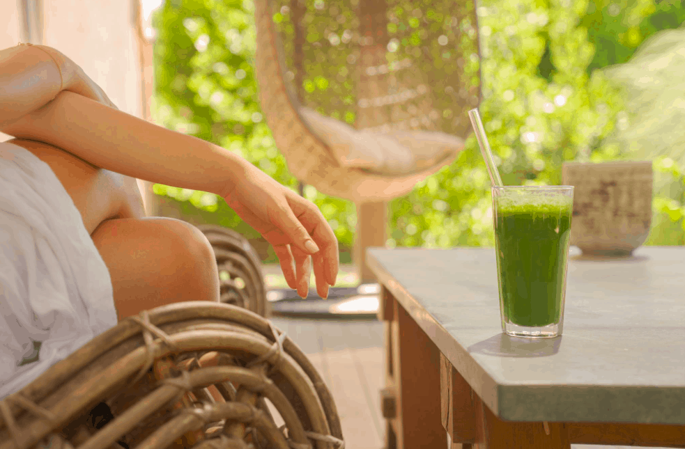 Green detox juice on the table