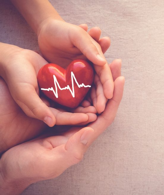 Adult,And,Child,Hands,Holiding,Red,Heart,With,Cardiogram,,Health